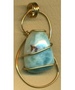 Larimar Gold Wire Wrap Pendant 59 - $29.01