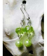NEW Green Crystal Rondelle Dangle Glass Pearl Earrings - $3.00