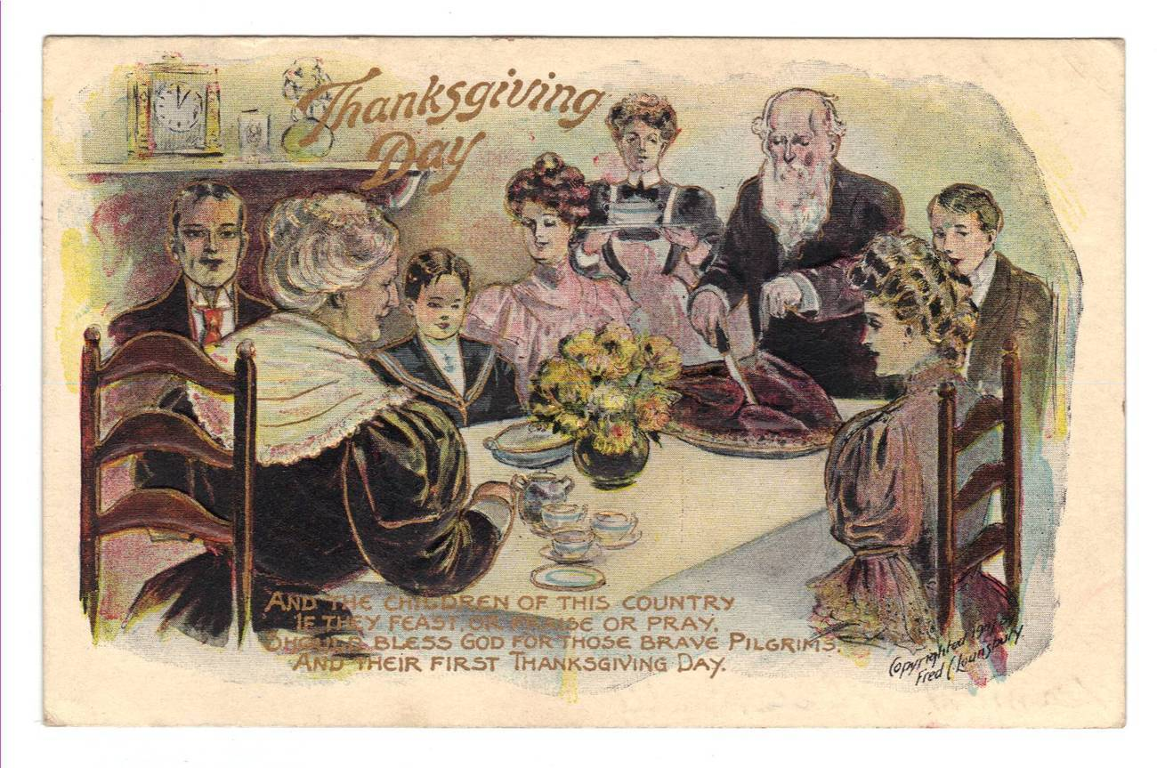 Vintage Thanksgiving Postcard Fred Lounsbury Poem Columbus Ohio 1909