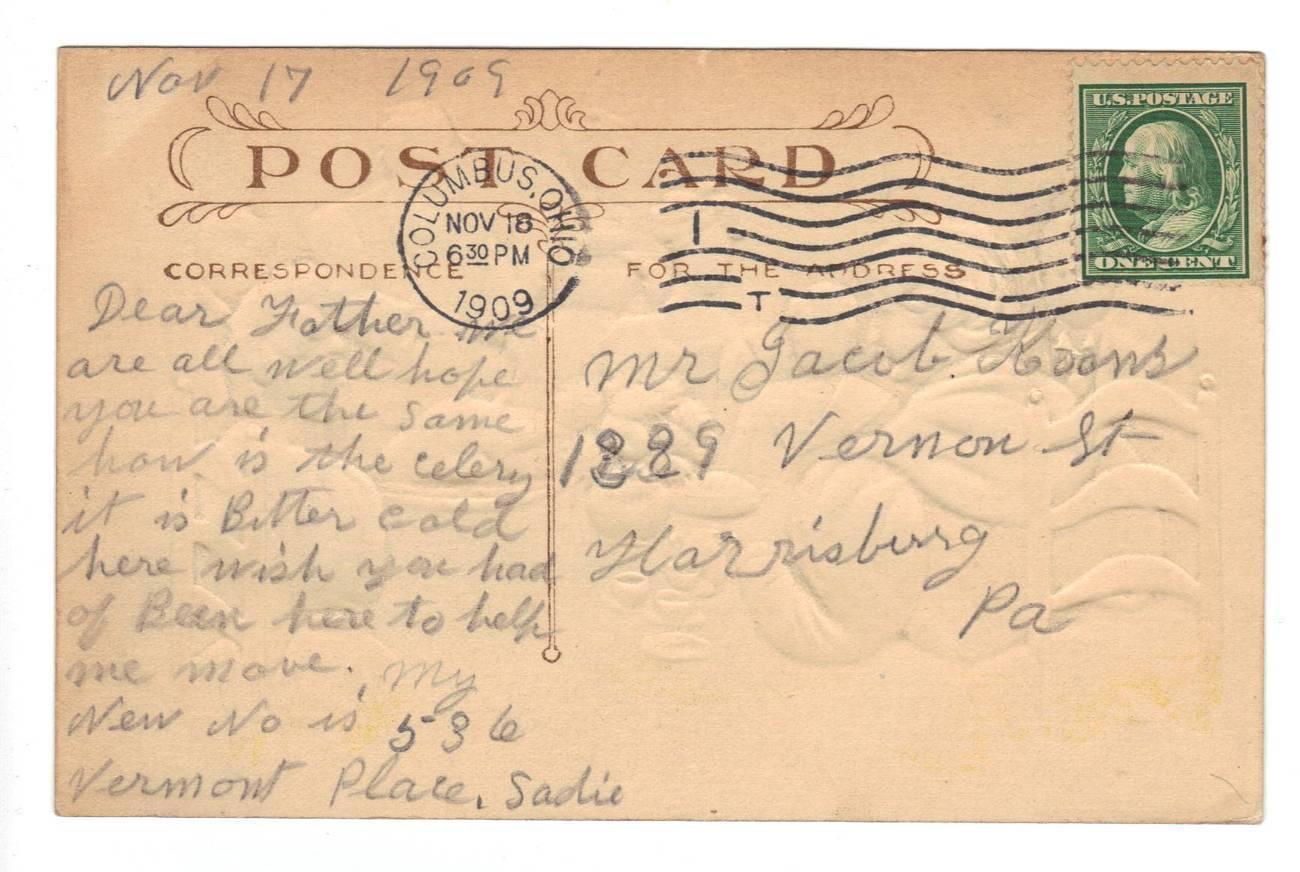 Vintage Thanksgiving Postcard Fred Lounsbury Poem Columbus Ohio 1909 image 2