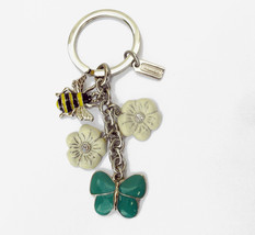 Coach Spring Pave Mix Key Fob 92248 Butterfly Bee Flower Charm - $85.00