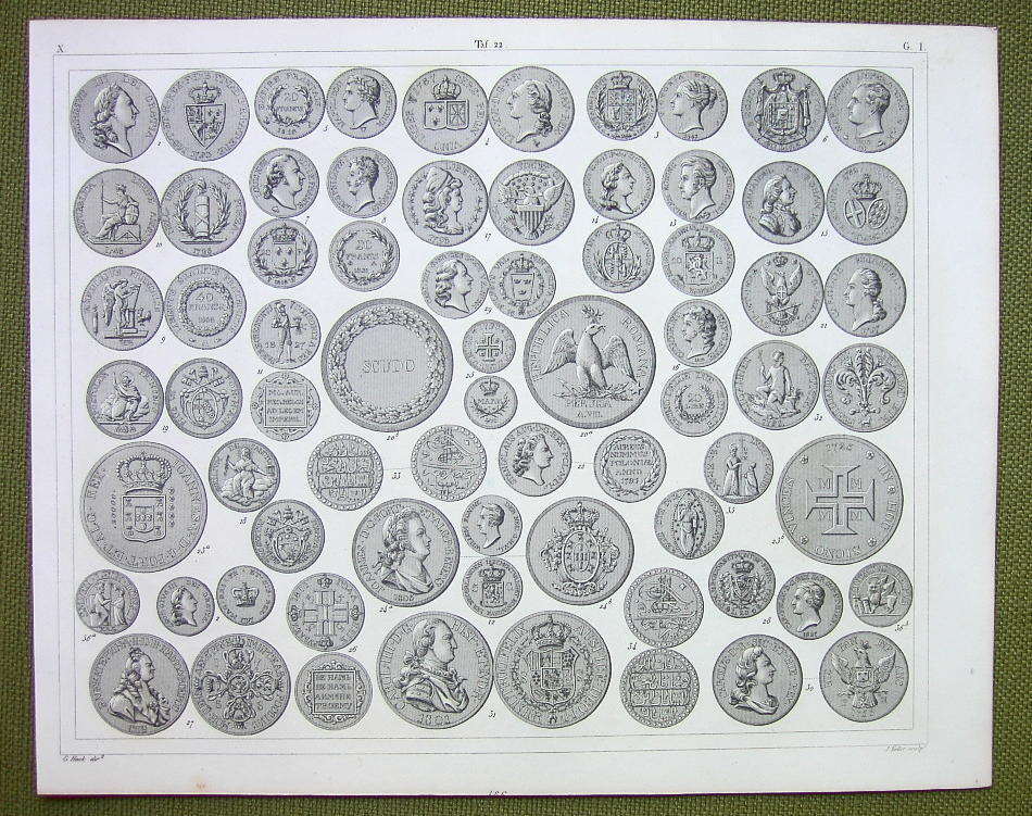 Primary image for COINS of EUROPE England Russia Poland Turkey etc - 1844 SUPERB Print Engraving