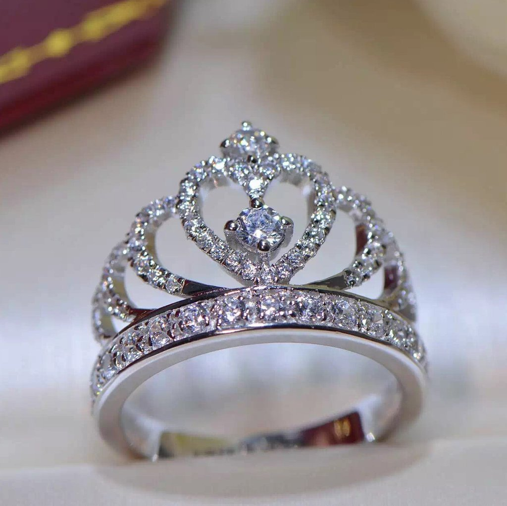 3/4ct Round Cut Real 925 Silver Princess Tiara Engagement ...