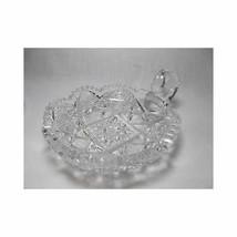 "Vtg Cut Glass Nappy Dish relish Crystal star button sawtooth 6"" - $39.59"