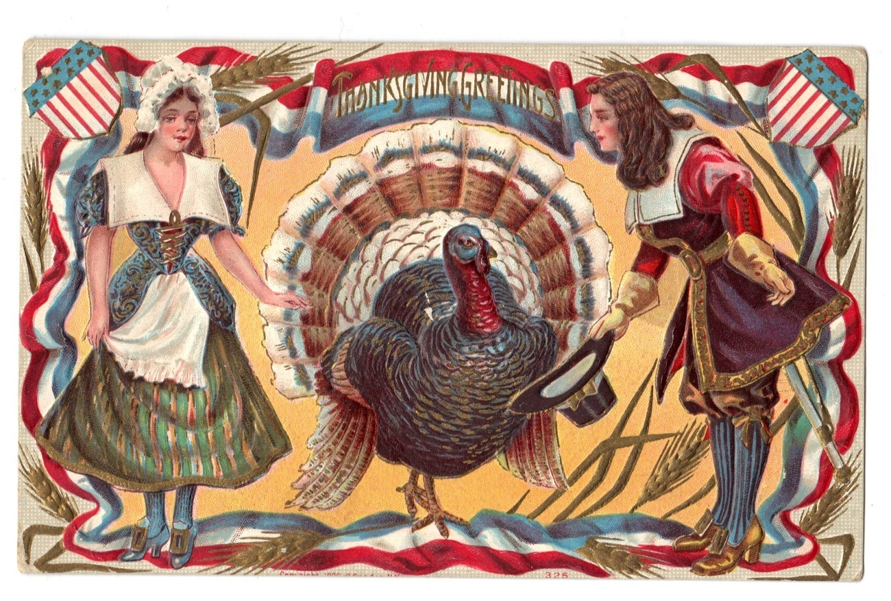 Patriotic Thanksgiving Postcard Pilgrims Turkey Shields