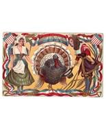 Patriotic Thanksgiving Postcard Pilgrims Turkey Shields - $14.95