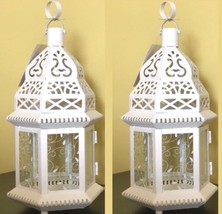 "2 LARGE Moroccan Style Lantern 15"" Tall Candleholder Wedding Centerpieces - $39.45"