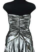 80s Etienne Brunel Paris Silver Metallic Lame Strapless Ruched Swing Party Dress image 9