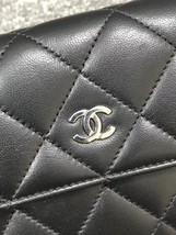 AUTH CHANEL BLACK QUILTED LAMBSKIN LARGE FLAP TRI-FOLD CLUTCH WALLET  image 7