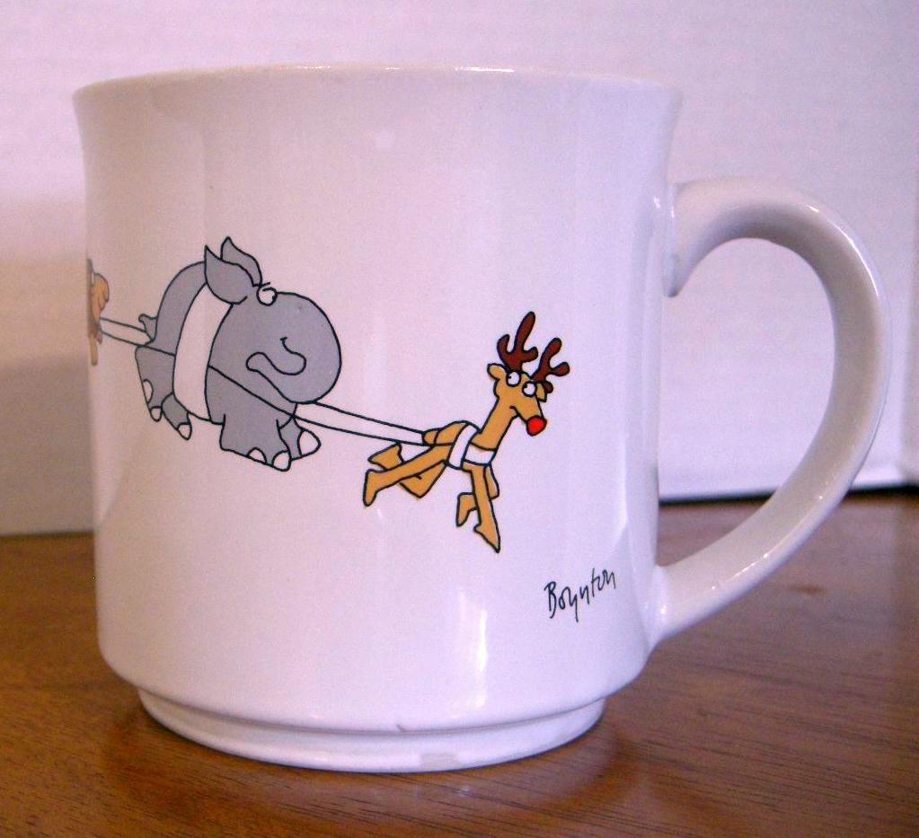 Sandra Boynton Christmas Mug Cup 12 oz Santa Sleigh Hippo Giraffe Lion Elephant
