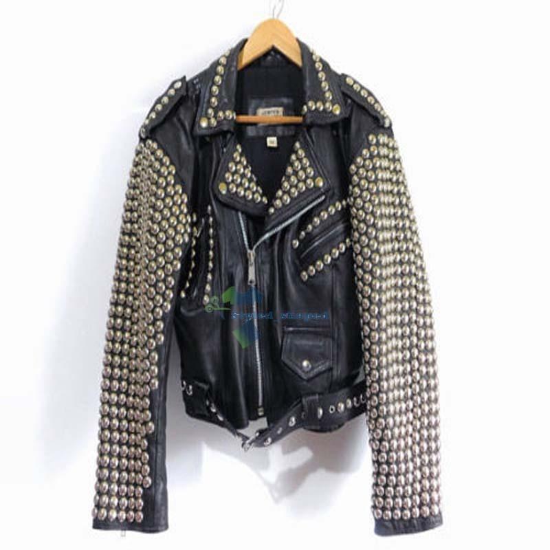 Customized Men's Black Rock Brando Punk Biker Golden Studded Pure Leather Jacket
