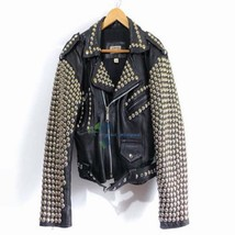 Customized Men's Black Rock Brando Punk Biker Golden Studded Pure Leather Jacket image 1