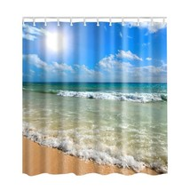 Bathroom Curtains Ocean Decor Collection Seascape Picture Print Bathroom Fabric  - $28.48