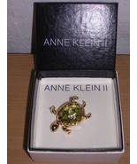 Anne Klein II Turtle Pin Gold & Green 1 3/4 inches NEW - $24.95