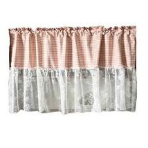 PANDA SUPERSTORE Pink/Lace - Short Kitchen Curtain Half Window Curtain Cafe Curt