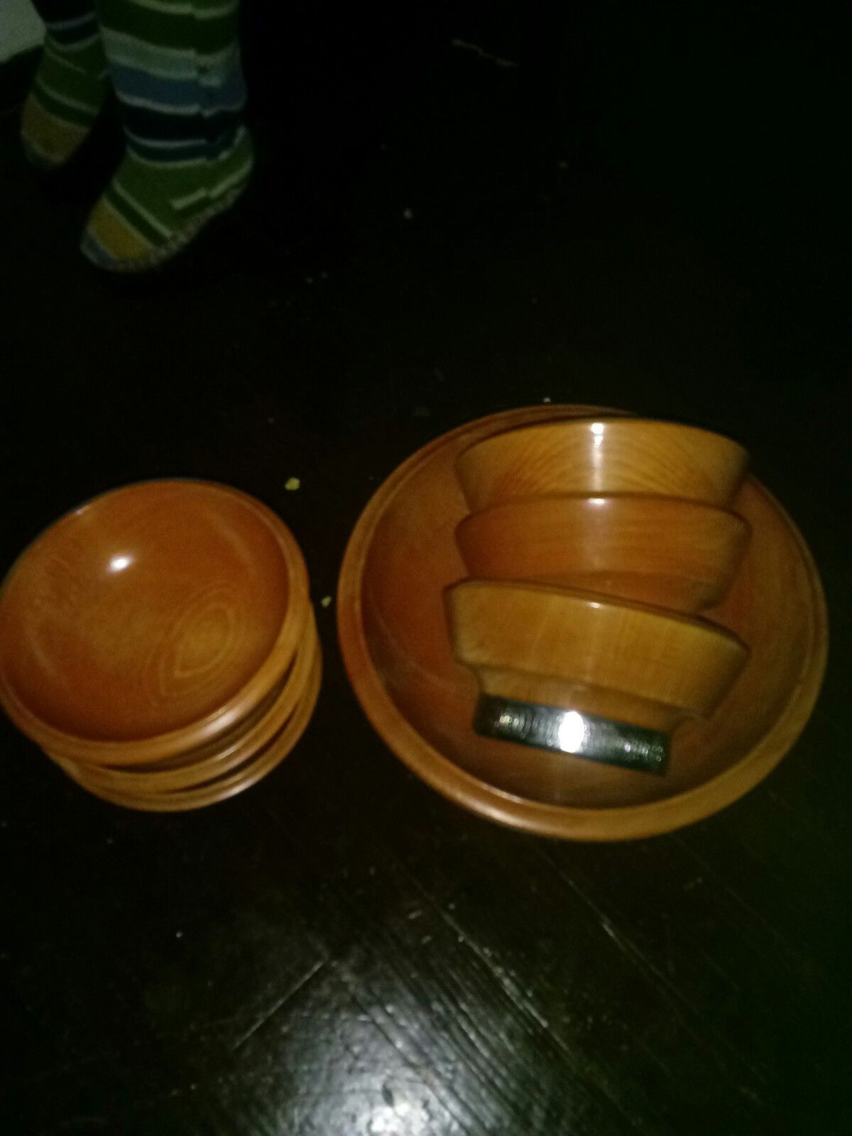 Vintage 7pc Hellerware Wood Chromium Mid-Century Salad Bowl Set!