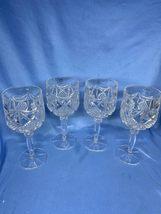 Antique Set Of 4 Kobe Crystal West Germany Diamond Cut Hock Wine Glasses Goblet - $44.99