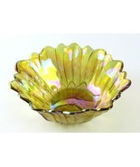 Vintage Amber Gold Carnival Glass Iridescent Flower Shaped Textured Bowl - £17.41 GBP
