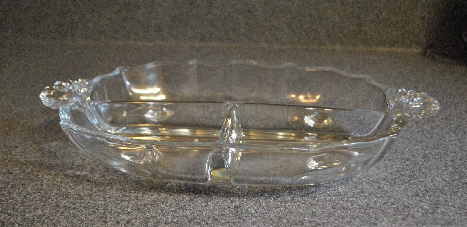 3 Section Handled Relish Dish in Baroque-Clear by Fostoria