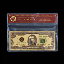 WR Colored US $2 Two Dollars Gold Plated Banknote /w Certificate for Col... - $6.18