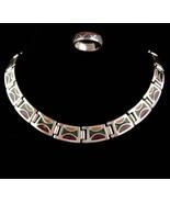 Vintage Cleopatra necklace - silver & Enamel statement collar - southwes... - $75.00