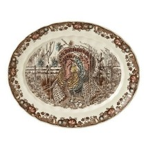 "His Majesty Oval Platter 15"" Multicolored Stoneware, Seasonal Turkey, Ha... - $249.77"