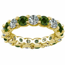 2 Carat White & Green Diamond Full Eternity U Band Bridal Ring 14K Yello... - $1,143.80