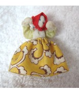 Vintage Handmade Tiny Fabric Doll In Yellow Dress 1 1/2 Inch SHP - $12.38