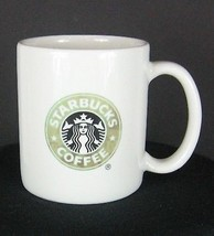 RARE 2004 Starbucks 10 fl oz plain Mermaid Green Black White straight sided mug - $5.27