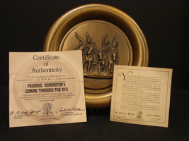 "Frederic Remington's ""Coming Thru the Rye"" Bronze Collector Plate COA - $24.99"