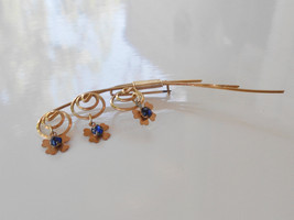 Antique spiral brooch a weeping flower with 3 four petal flower charms blue sapp - $60.00