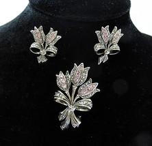 Vintage Avon brooch pin flower bouquet pink crystal set earrings silver ... - $24.73