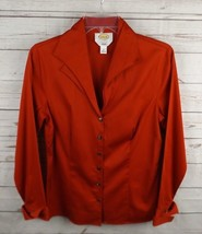 Talbots Shirt Top Size 8 Red Stretch Double Collar Long Sleeve - $18.99