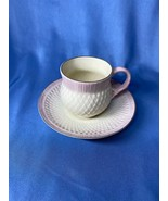 Antique Irish Belleek 2nd Brown Mark Thistle Tea Cup And Saucer With Pink Trim - $129.99