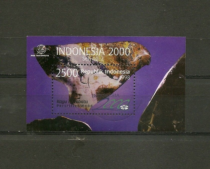 Primary image for INDONESIA Souvenir Sheer - Gems Petrified wood 1998 Scott 1767 Used