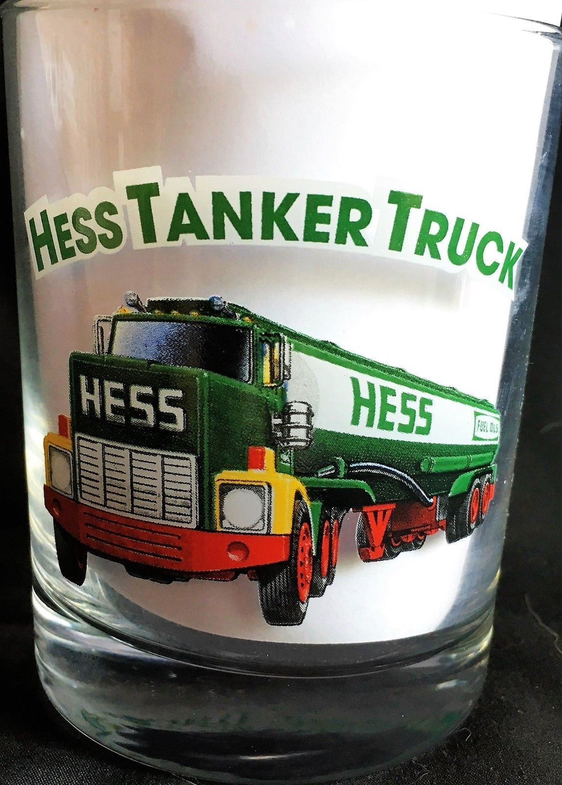 HESS 1996 COLLECTORS GLASS # 3 HESS TRAILER AND RACER MINT