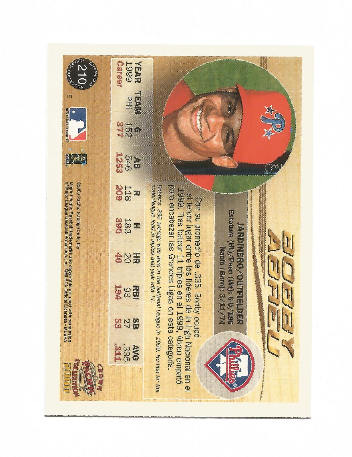 Bobby Abreu 2000 Pacific Crown Collection Card #210 Phillies Free Shipping