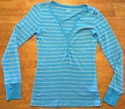 Gap Supersoft Women's Blue & Gray Striped Button Down Shirt - Size: XS - $14.03