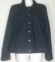 Eileen Fisher Dark Blue Denim Jean Jacket Organic Cotton Stretch Small S - $59.39