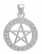 Pentacle Pendant .925 Sterling Silver w/ Zirconia BRILLIANT Wicca Wiccan... - $33.85