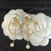 Authentic Christian Dior 2019 Tribales Double Pearl Dangle Drop Long EARRINGS image 10