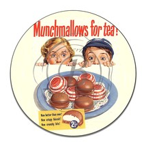 Munchmallows for Tea? Vintage Advertisement Reproduction Round Aluminum Sign - $16.09