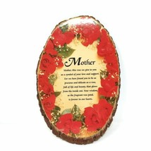 Natural Wood Slab Tree Bark Plaque Wall Hanging Mother Roses Decorative ... - $32.97