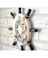 Mediterranean Style Anchor Helmsman Wooden Boat Ship Wheel Nautical Deco... - $16.69