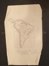 1878 antique HAND DRAWN BRAZIL MAP geography class MAMIE M. TRIMBLE ART - $42.50