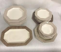 Nikko Dinnerware Set Cane Border Plates Bowls Serving Microwave Dishwasher Safe - $79.19