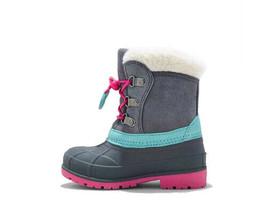 Cat & Jack Toddler Girls' Grey Pink Mora Suede Bungee Winter Boots Size SM 5/6 image 2