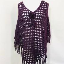 Handmade Crochet Purple Poncho Fringe Detail Boho One Size Artisan - $27.00
