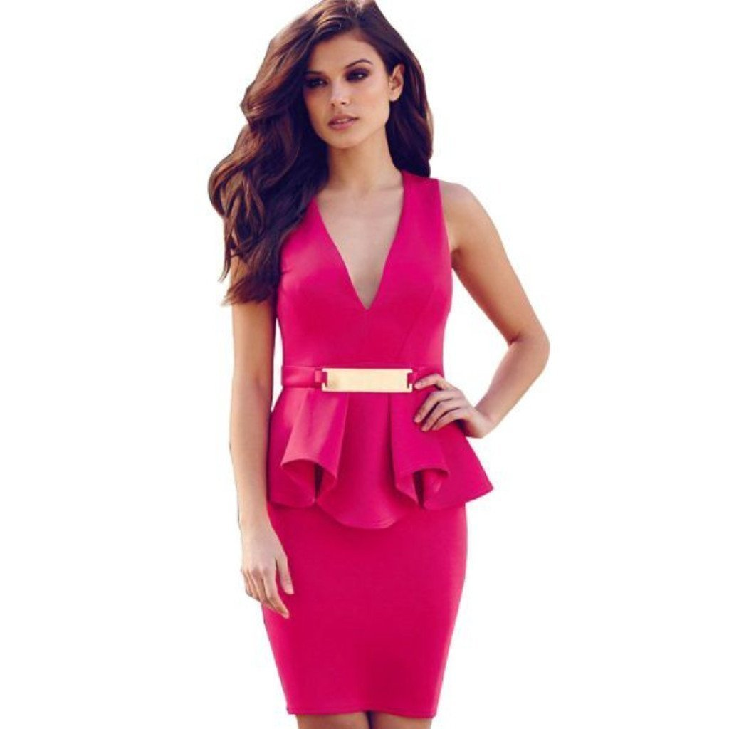 dress for less peplum dress medium pink v neck sexy peplum sleeveless women dress 1232634380319