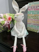 "Easter Girl Bunny Rabbit Fabric Shelf Sitter Tabletop Doll Decor 25""  AD... - $29.99"